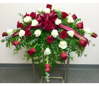 18 Red and 18 White Roses Casket Spray in Wyoming MI, Wyoming Stuyvesant Floral