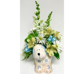 Ceramic Puppy with Fresh Flowers - Boy in Wyoming MI, Wyoming Stuyvesant Floral