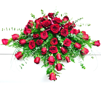 48 Red Rose Casket Spray in Wyoming MI, Wyoming Stuyvesant Floral