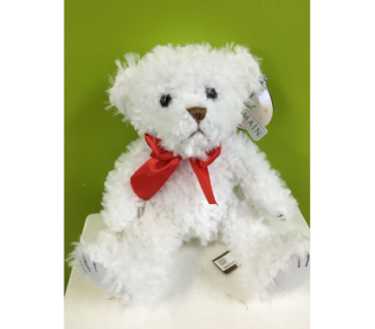 White Scraggles Bear in Jamesburg NJ, Sweet William & Thyme