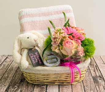 Medium Pink Baby Basket in Houston TX, The Empty Vase of Houston