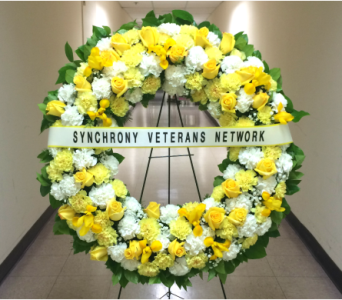 36 INCH CUSTOM COLOR WREATH WITH BANNER in Arlington VA, Twin Towers Florist