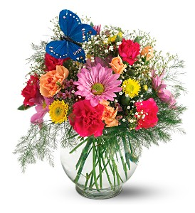 Teleflora's Butterfly & Blossoms Vase in Hudson, New Port Richey, Spring Hill FL, Tides 'Most Excellent' Flowers