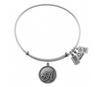 Initial 'A' Charm Bangle Silver in Eustis FL, Terri's Eustis Flower Shop