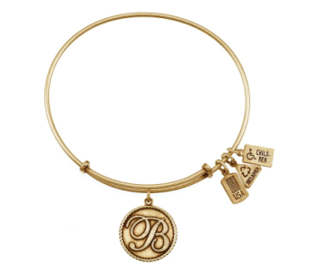 Intial 'B' Charm Bangle Gold in Eustis FL, Terri's Eustis Flower Shop
