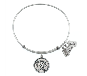 Intial 'B' Charm Bangle Silver in Eustis FL, Terri's Eustis Flower Shop
