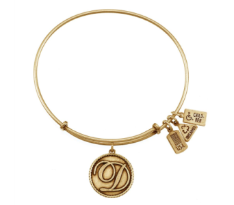 Love Letter 'D' Charm Bangle Gold in Eustis FL, Terri's Eustis Flower Shop