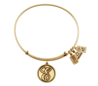 Love Letter 'E' Charm Bangle Gold in Eustis FL, Terri's Eustis Flower Shop