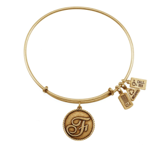 Love Letter 'F' Charm Bangle Gold in Eustis FL, Terri's Eustis Flower Shop