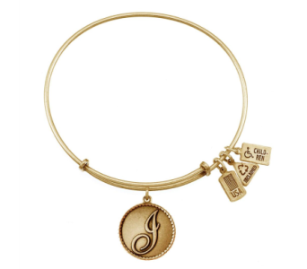 Love Letter 'I' Charm Bangle Gold in Eustis FL, Terri's Eustis Flower Shop