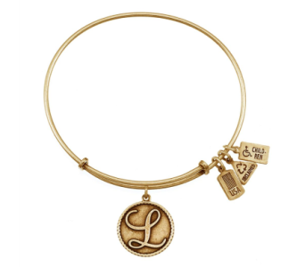Love Letter 'L' Charm Bangle Gold in Eustis FL, Terri's Eustis Flower Shop