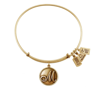 Love Letter 'M' Charm Bangle Gold in Eustis FL, Terri's Eustis Flower Shop