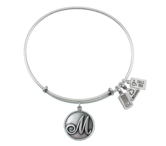 Love Letter 'M' Charm Bangle Silver in Eustis FL, Terri's Eustis Flower Shop
