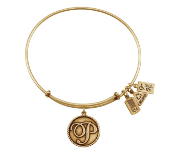 Love Letter 'P' Charm Bangle Gold in Eustis FL, Terri's Eustis Flower Shop