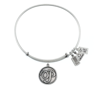 Love Letter 'P' Charm Bangle Silver in Eustis FL, Terri's Eustis Flower Shop
