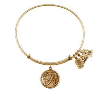 Love Letter 'R' Charm Bangle Gold in Eustis FL, Terri's Eustis Flower Shop