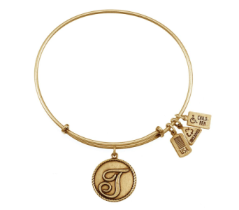 Love Letter 'T' Charm Bangle Gold in Eustis FL, Terri's Eustis Flower Shop