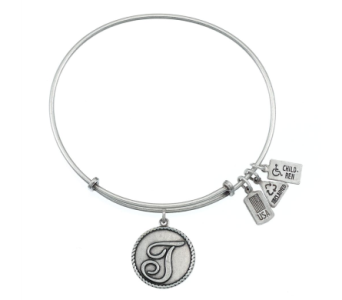Love Letter 'T' Charm Bangle Silver in Eustis FL, Terri's Eustis Flower Shop