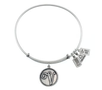 Love Letter 'V' Charm Bangle Silver in Eustis FL, Terri's Eustis Flower Shop