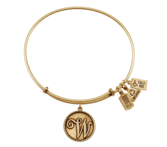 Love Letter 'W' Charm Bangle Gold in Eustis FL, Terri's Eustis Flower Shop