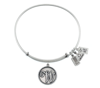 Love Letter 'W' Charm Bangle Silver in Eustis FL, Terri's Eustis Flower Shop