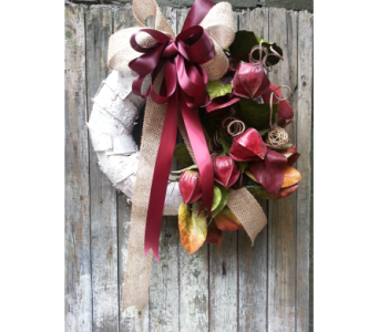 Natural Silk Birchwood Wreath with Burlap and Burgandy in Ambridge PA, Heritage Floral Shoppe