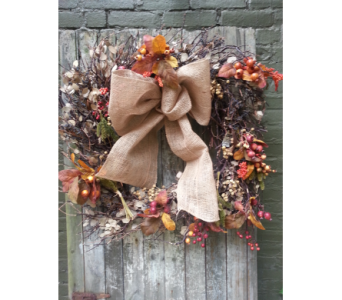 Large Natural Autumn Wreath with Burlap and Berries in Ambridge PA, Heritage Floral Shoppe