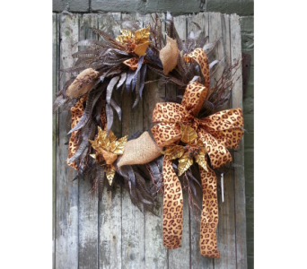 Custom Cheetah Print and Feather Silk Wreath in Ambridge PA, Heritage Floral Shoppe