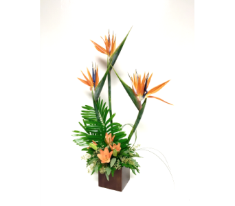 Birds-of-Paradise in 4x4 Bamboo Cube - One-Sided in Wyoming MI, Wyoming Stuyvesant Floral