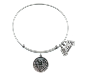 Best Friend, Filigree Heart Charm Bangle Silver in Eustis FL, Terri's Eustis Flower Shop