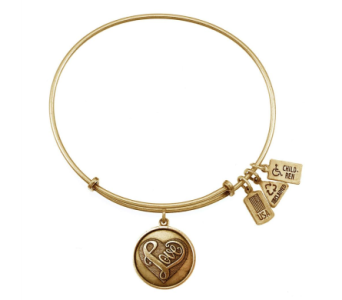 Heart 'Love' Charm Bangle Gold in Eustis FL, Terri's Eustis Flower Shop