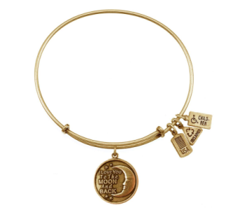 I Love You To The Moon And Back Charm Bangle Gold in Eustis FL, Terri's Eustis Flower Shop