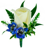 White and Blue Boutonniere in Perrysburg & Toledo OH  OH, Ken's Flower Shops