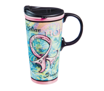Hope Courage Strength Travel Cup in Skowhegan ME, Boynton's Greenhouses, Inc.