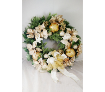 Golden Wreath-LG in Naples FL, Naples Flowers, Inc.