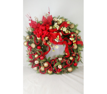 Red W/Christmas Balls-LG in Naples FL, Naples Flowers, Inc.