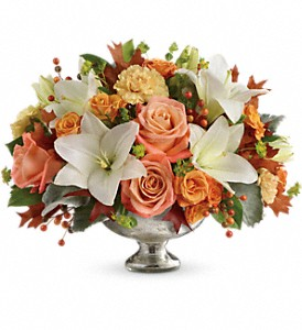 Teleflora's Harvest Shimmer Centerpiece in Los Angeles CA, La Petite Flower Shop
