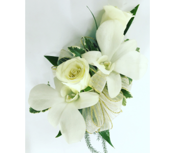 White Roses and Orchids with Beading Wrist Corsage in Wyoming MI, Wyoming Stuyvesant Floral
