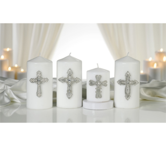 Glass & Zinc Alloy Cross Design Candle Pin in Toledo OH, Myrtle Flowers & Gifts