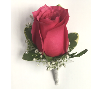 Hot Pink Rose w/Gyp & White Pearls Boutonniere in Wyoming MI, Wyoming Stuyvesant Floral