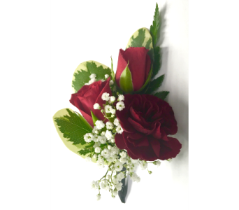 Double Rose and Miniature Carnations Boutonniere in Wyoming MI, Wyoming Stuyvesant Floral