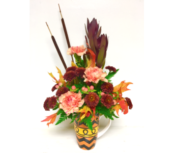 Fall Flare Mug Arrangement - One-Sided in Wyoming MI, Wyoming Stuyvesant Floral