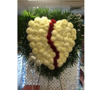 Broken Heart -- White w/Red Carnation Break in Manhasset NY, Town & Country Flowers