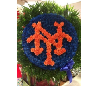 NY Orange Letters w/Blue Background in Manhasset NY, Town & Country Flowers