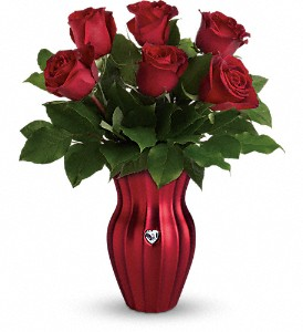 Teleflora's Heart Of A Rose Bouquet in Austintown OH, Crystal Vase Florist