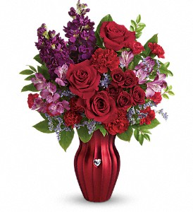 Teleflora's Shining Heart Bouquet in Austintown OH, Crystal Vase Florist