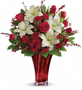 Love's Passion Bouquet by Teleflora in Des Moines IA, Irene's Flowers & Exotic Plants
