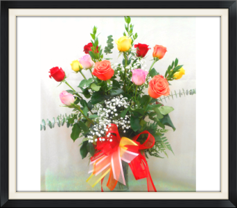 One Dozen Mixed Color Roses in Tyler TX, The Flower Box