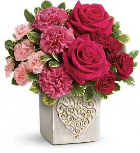 Teleflora's Swirling Heart Bouquet in Tulsa OK, Ted & Debbie's Flower Garden
