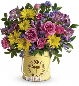 Teleflora's Blooming Pail Bouquet in Lewiston ME, Val's Flower Boutique, Inc.
